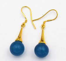 Beautiful Natural apatite Gemstone 925 Silver Gold-plated/Dangle Earrings