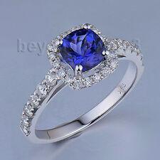 Real 18Kt White Gold Natural Diamond Tanzanite Engagement Wedding Gemstone Ring