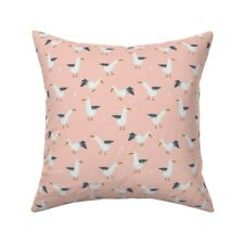 Coral Mint Seagull Throw Pillow Cover w Optional Insert by Roostery