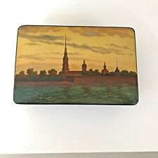 VINTAGE FEDOSKINO 1965 USSR/RUSSIAN HAND PAINTED LACQUERED BOX SIGNED