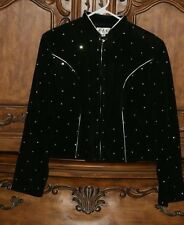 Women's Western Cowgirl Rodeo Black Crystal Embellished Suede Leather Jacket