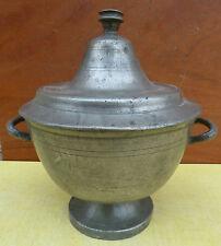 Ancien pot à bouillon, soupière en étain du XVIII° siècles art populaire