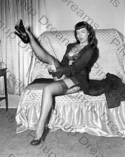 "Vintage 10"" x 8"" Photograph of 1950s Pin-up Glamour Queen Bettie Page re-print"