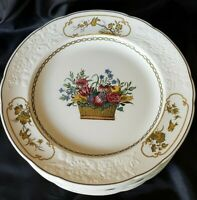"Antq. Copeland Spode 10 1/4"" Dinner Plates Basket with Flowers 2/7199 c. 1919"
