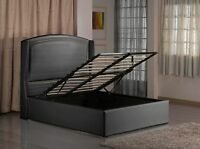 Faux Leather Ottoman Storage Bed in Black & White with Memory Foam Mattress