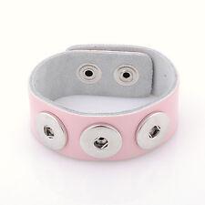 Leder ARMBAND 3 Chunks Chunk Click Button Druckknopf (18-22 cm) Rosa Pink #4111
