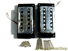 2 vintage chrome slotted guitar humbucker pickups plain chrome + fittings new