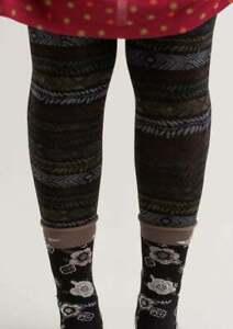 BNWT *Gudrun Sjoden* Ylva black folkloric footless tights S/M