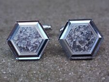 VINTAGE 1970'S CHROME PLATED DIAMOND CUT CUFFLINKS