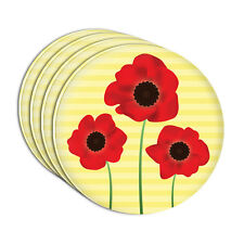 Red Poppies Flower Acrylic Coaster Set of 4