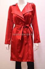 FAUX SATIN COLLARED SELF TIE WAIST BELT LONG ROBE COAT RED 10