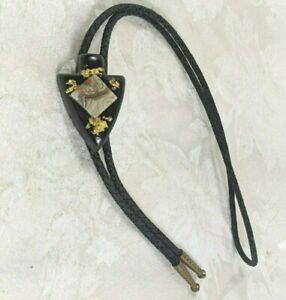 Vintage Bolo Tie  Black Braided Leather Tie Gold Flecks