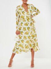 Volantes impresión Floral Amarillo Missguided Dobladillo envoltura Midi Vestido Talla 12 BNWT fiesta del té