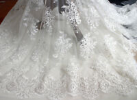 """51"""" Beaded Embroidery Wedding Dress Fabric Corded Bridal Gown Lace Fabric 0.5 Y"""