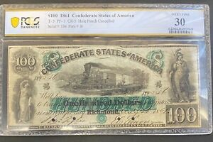 1861 $100 ONE HUNDRED DOLLARS CONFEDERATE STATES OF AMERICA, T-5, PCGS VF-30