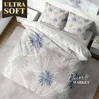 Palm Tree Rope Floral Leaves Blue Quilt Cover Single Bed Double Queen King Size