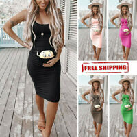2019 Womens Cute Baby Printed Pregnant Summer Sleeveless Party Maternity Dress