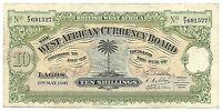 British West Africa Banknote 10 Shillings 1941 P7b gVF Grade Palm Tree RARE WW2