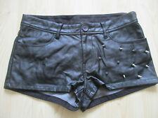 ladies H&M BLACK PVC FAUX LEATHER HOTPANTS UK SIZE 10
