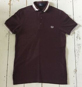 Men's Burgandy FRED PERRY Polo Shirt Size Small