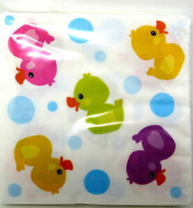 16 Rubber Duck Dessert Napkins Colorful Ducky Kids Party Baby Shower Duckie