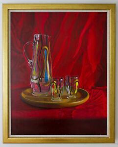 Original Framed Oil Painting Mid Century Glassware still life artwork