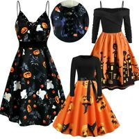 Womens Halloween Pumpkin Bat Silhouette Devil Swing Skater Dress Party Costume