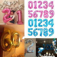 "Helium Giant Number Balloons Foil Large Helium Air  40"" Birthday Age Party"