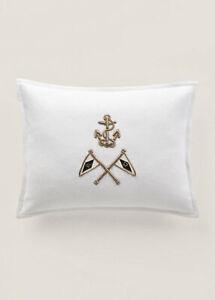 Ralph Lauren Bayview Gold Anchor RL 67 Nautical White Handmade Throw Pillow