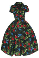 Ladies LOOKING GLAM Retro/Rockabilly/Swing Black Multi Floral Cotton Dress  (1d)