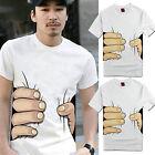 New Couples Short Sleeve Cotton Blend Hand Print T Shirt Unisex Tops Blouse G69