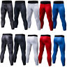 Mens Compression 3/4 Tights Running Gym Basketball Workout Dri fit Spandex Pants