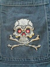 Vintage JNCO Wide Leg Black Embroidered SKULL Jeans Size 32x29 Actual