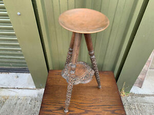 Vintage Heavily carved wood & copper 2 tier plant stand S2E120621Q