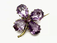 Antique Gold Tone Amethyst Paste IRISH SHAMROCK Brooch GIFT BOXED