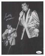 SCOTTY MOORE HAND SIGNED 8x10 PHOTO    IN CONCERT POSE WITH ELVIS PRESLEY    JSA