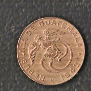 GUATEMALA  1 CENTS DE QUETZAL 1943 BRASS