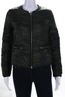 Generation Love Womens Camouflage Long Sleeve Puffer Coat Green Size XS
