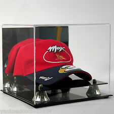 Stg Deluxe Acrylic Baseball Cap / Hat Display w/ Mirror and Golden Risers #Ad07