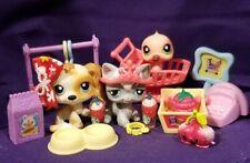 Littlest Pet Shop #343 Humming Bird #344 Cocker Dog #345 Angora Cat Accessories