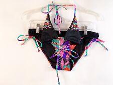 Victoria's Secret Bikini Top Bottom Size Small Black Beads Jewel Stones Swimsuit