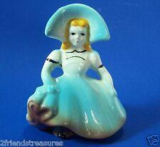 "Vintage Lady Southern Belle Planter Blue Dress Hat Blonde Hair 5.75"" Tall"