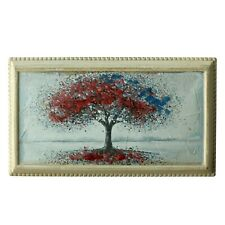 Hand Painted 3D Painting Wooden Frame Wall Hanging Landscape Tree Flower Design
