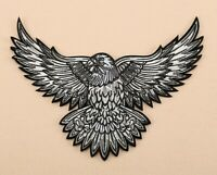 USA AMERICAN EAGLE BLACK & WHITE IRON ON PATCH PATRIOTIC BIKER B037