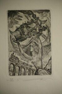 RAILROAD-VLADIMIR VERESCHAGIN*1949 Russia-Exlibris-BOOKPLATE-39/100 signed2008