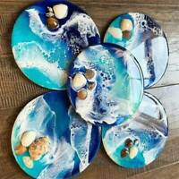 DIY Round Pendant Agate Epoxy Resin Casting Molds Jewelry Coaster Making Moulds