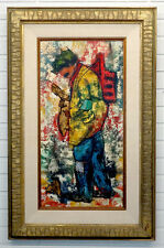 1960's FRANCOIS Vintage MID-CENTURY MODERN Mixed Media COLLAGE PAINTING in Frame