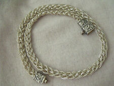 "FABULOUS RARE VINTAGE STERLING SILVER 925 LADIES WOVEN  NECKLACE 15"" 23g"