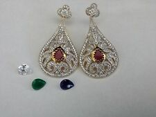 GOLD PLATED INTERCHANGEABLE EARRINGS SET WITH AAA+ ZIRCON AND PRECIOUS STONES