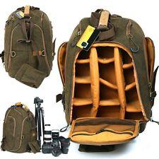 Professional Large Canvas Camera Backpack DSLR SLR Camcorder Travel Shoulder Bag